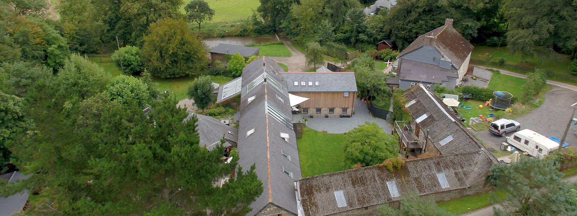 Barn conversion in Langford Barton roof windows from a bird's eye view